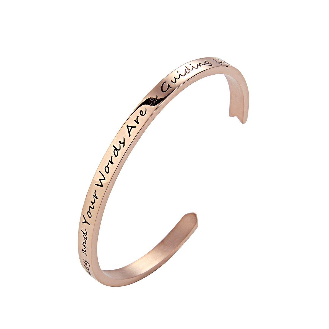 Meibai Teachers Bracelet Stainless Steel Arrow Cuff Bangle Engraved Words for Teacher Education Gift Chenzhou Meibai Jewelry Co. Ltd 0602TEACHER-CUFF