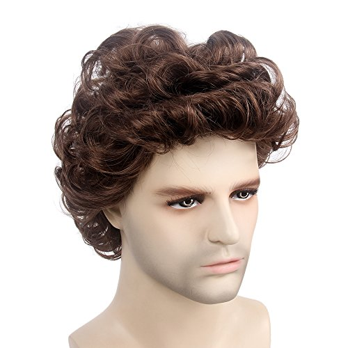 STfantasy Mens Wig Male Short Layered Curly Wavy Hair Halloween Cosplay Party w/Cap (12