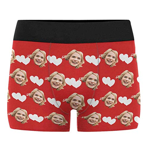 (Custom Men's Funny Face Love Heart Red Boxer Shorts Briefs Underpants Printed with Photo L for Valentine's Day)