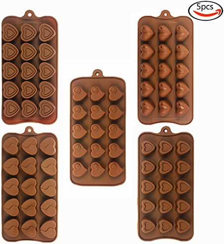 Whonline 5 Pcs Heart-shaped Silicone Baking Molds for Chocolate Candy Ice Cube Making Molds
