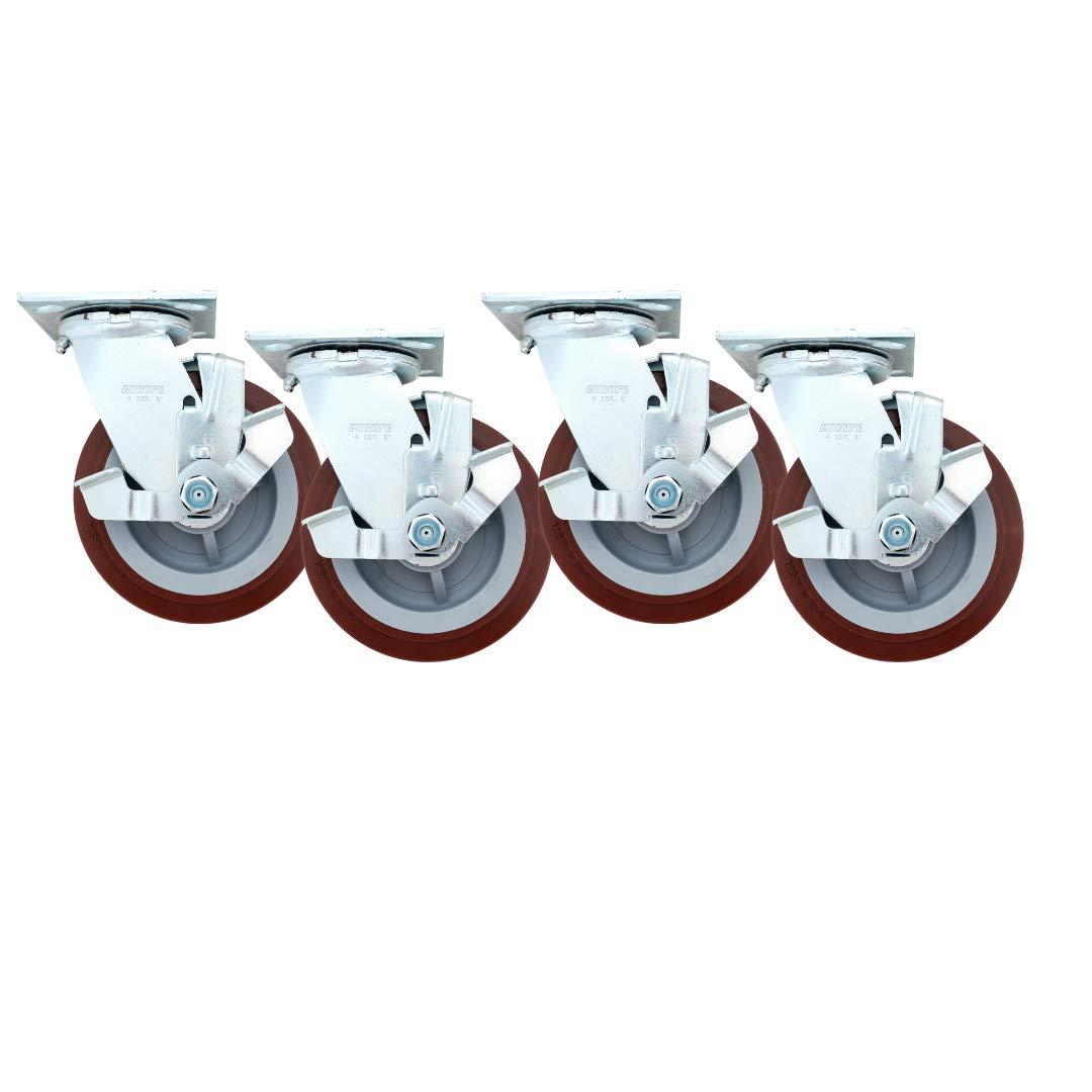 "Linco 6"" Heavy Duty Locking Caster Wheels   Set of 4 Polyurethane Locking Swivel Caster Wheels   Total Capacity: 3600 lbs   6 inch Wheel Casters"