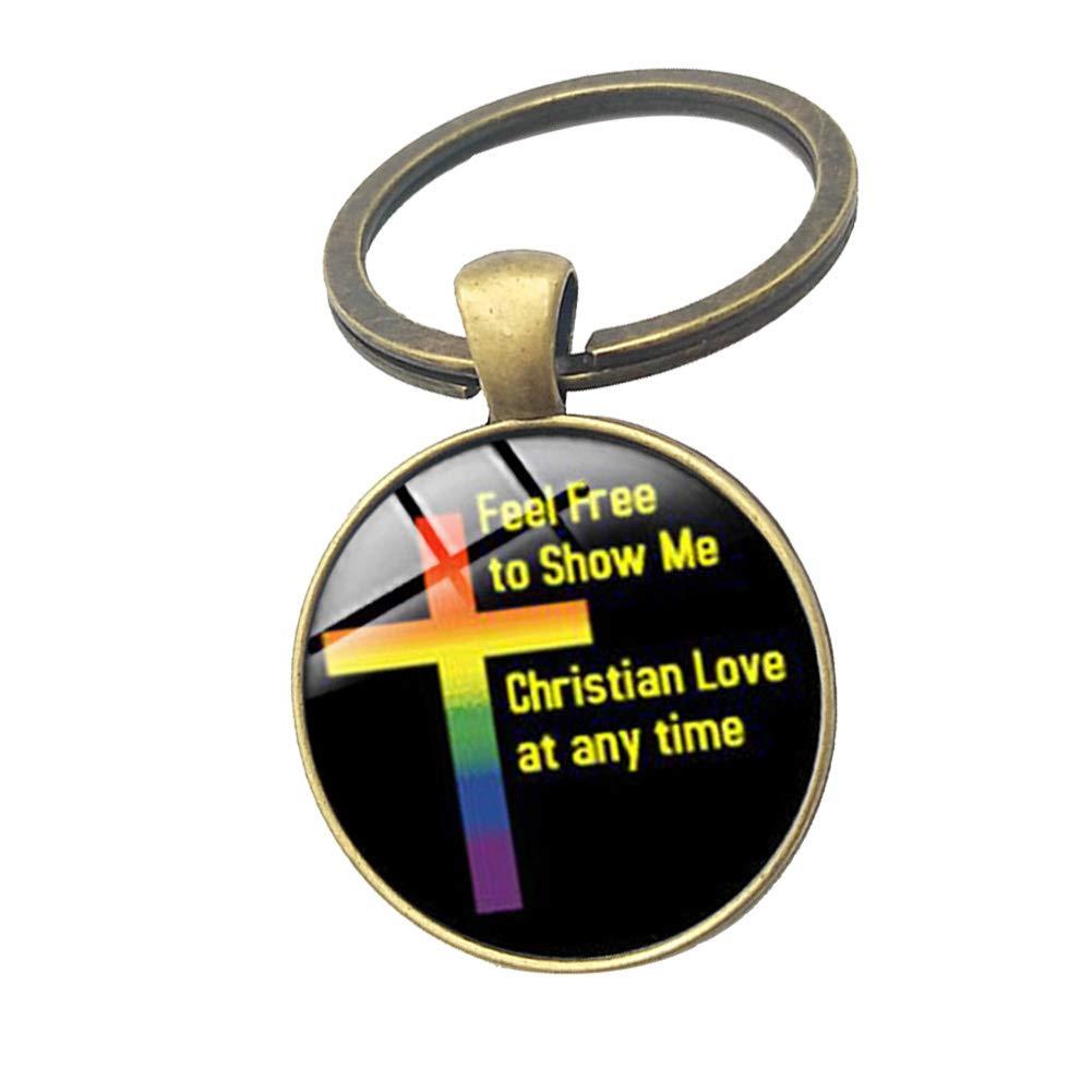 Colores A Yuxinjewelry Hombres y Mujeres Lesbiana Colgante LGBT Gay Orgulloso Arcoiris Geometr/ía Llavero Tiempo Piedra Preciosa Alfabeto Llavero