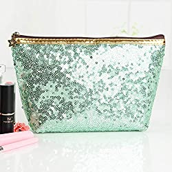Sequins Refreshing Bling Makeup Green Pouch