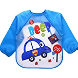 Online Monk Baby Accessories - Sleeved Washable Waterproof Bib Apron for Babies & Kids - Type Blue Police Car