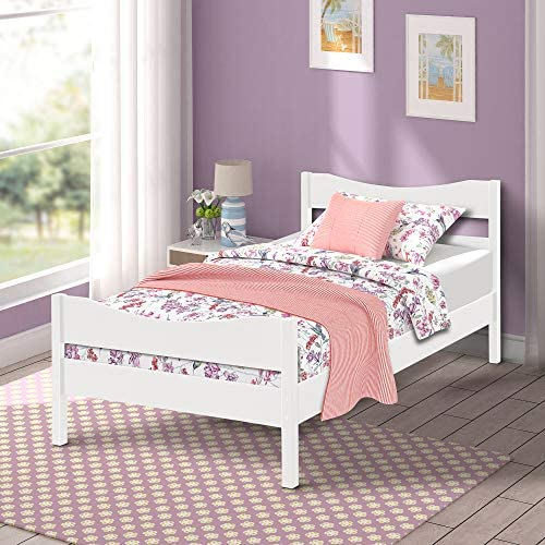 Merax Wood Platform Bed Twim Size Panel Bed Mattress Foundation Wooden Slat Support Twin Size White