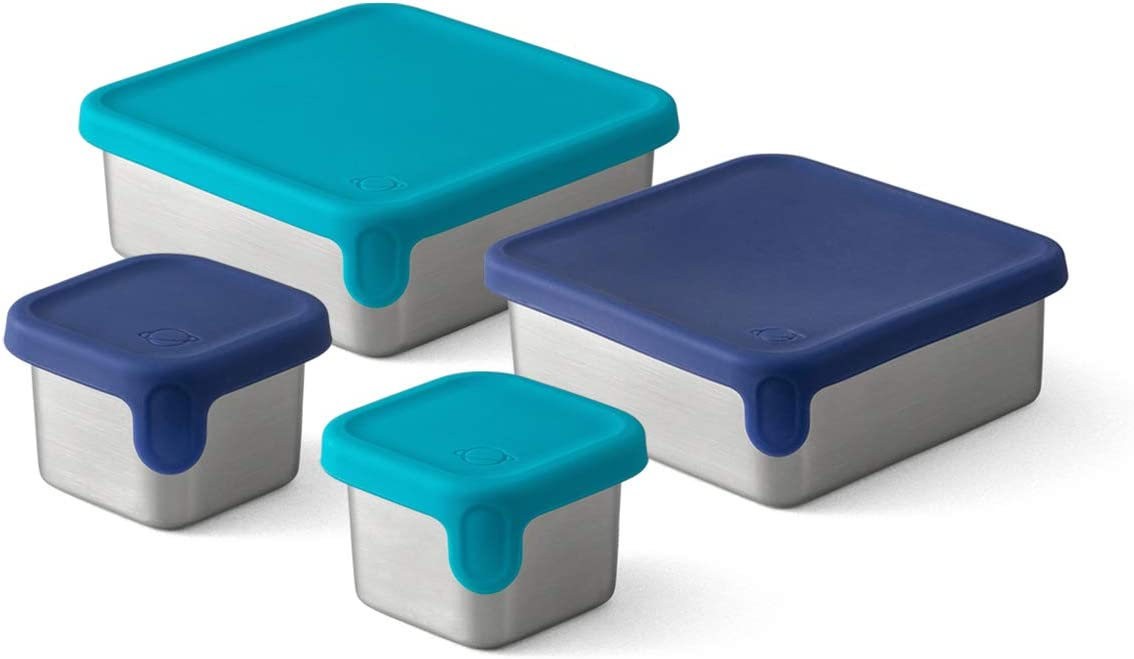 PBX Stainless Steel Square Food Containers with Silicone Lids