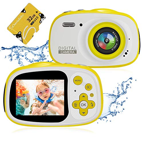 Kids Waterproof Camera,Delicacy 8MP 2.0 Inch HD Screen Camera Camcorder with 6X Digital Zoom,Rechargeable Toddler Video Camera with Photo Frame,32G TF Card Included