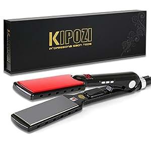KIPOZI Professional 1.5 Inch Flat Iron Hair Straightener with Nano-Titanium Plate, Instant Heat Up, Anti- Frizz, Dual Voltage, Digital Screen