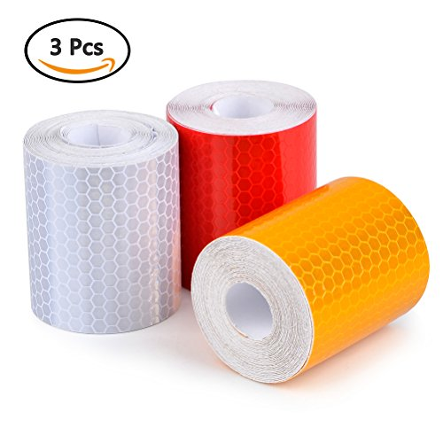 [3 PCS] ATPWONZ 2'' x 118'' Reflective Tape Sticker Warning Conspicuity Tape 3M Film Sticker For Cars, Trucks, Trailers, Vehicles, Motorcycle