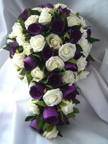 BRIDES WEDDING SHOWER BOUQUET IVORY PURPLE ROSESARTIFICIALWEDDING FLOWERS