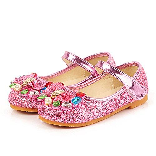 edv0d2v266 Children's Shoes Girls Heels Princess Shoes Pearl Girls Rhinestones Dance Shoes(Pink 26/9 M US Toddler) (Rhinestone Pink Priorities)