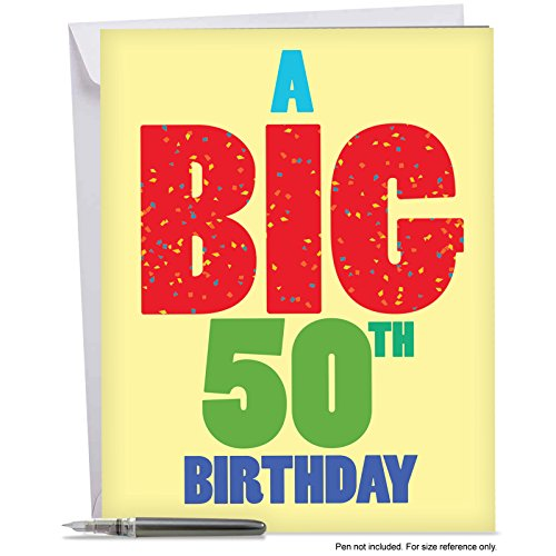 50th Birthday Greeting Cards (J3940BDG Jumbo Humor Birthday Greeting Card: Big 50 Birthday, with Envelope (Giant Size: 8.5