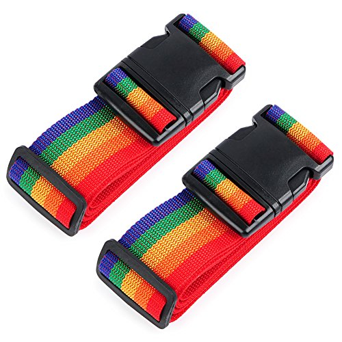 Tag Luggage Flyer (HOLLY TRIP Pack of 2 Luggage Straps, Adjustable Luggage Strap Belts Travel Bag Accessories For 20