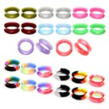 Jovivi Pack of 28 Mixed Colors Ultra-thin Soft Silicone Double Flared Flexible Flesh Tunnel Plugs Gauges 8G-3/4