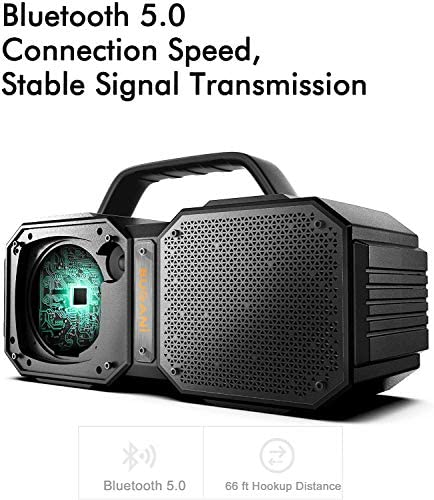 BUGANI Bluetooth Speakers, M83 Portable Bluetooth Speakers 5.0, 40W Super Power, Rich Woofer, Stereo Loud. Suitable for Family Gatherings and Outdoor Travel. Black