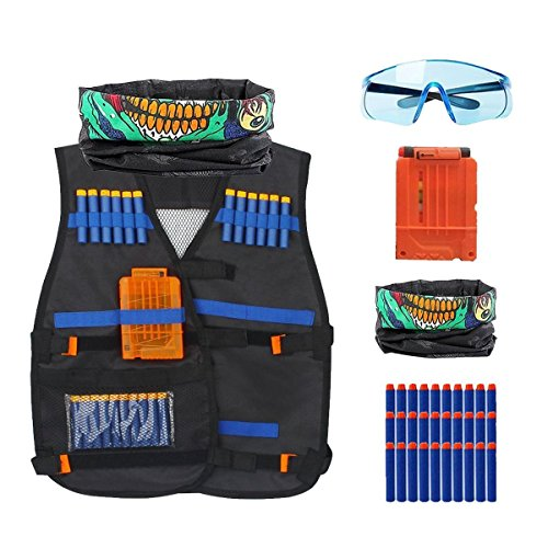 43fa80e5e28 CloverTale 2 PACK SET Nerf Kids Tactical Vest Set Kit with 30 Pcs Refill  Darts