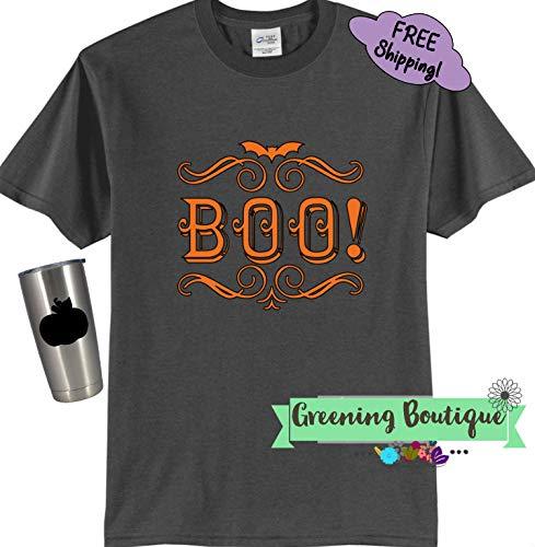 boo orange gray black adult halloween t shirts