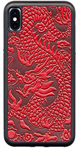 (Leather iPhone Case for iPhone Xs Max: Rugged, Flexible TPU iPhone Holder with Embossed Top Grain Cowhide Leather, Handcrafted in USA, Red Dragon by Oberon Design (iPhone Xs Max) )