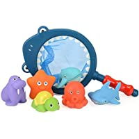 Junong 7 Pcs Baby Bath Toys Cartoon Floating Shark Animal Toy Set Shark with Net and Rod(Multicolor) for Kids