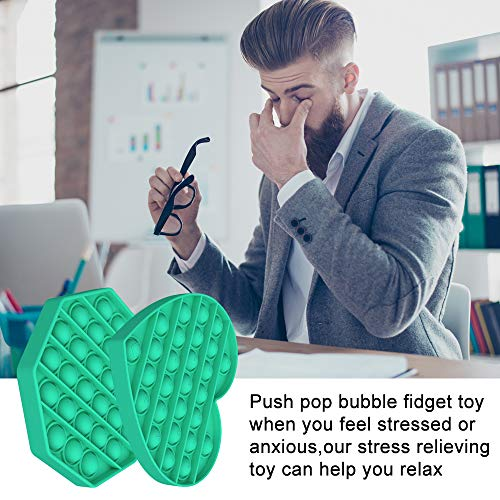 Maison-Market 2Pack Push Pop Bubble Sensory Fidget Toy,Autism Special Needs Stress Reliever Silicone Stress Toy.Help Restore Emotions Gift for Kids & Adults. (Green)