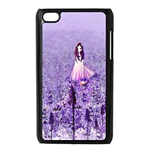 iPod Touch 4 Case Black Anime Cute Girl In Purple Flower Garden TR2349850