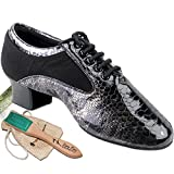 Men's Ballroom Dance Shoes Tango Wedding Salsa Latin Dance Shoes Black Snake Patent S445EB Comfortable - Very Fine 1.5'' Heel 11.5 M US [Bundle of 5]