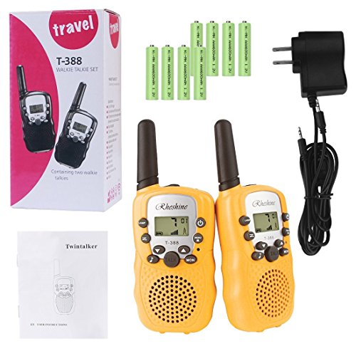 Kids Walkie Talkies, Rheshine Rechargeable Walkie Talkie for Kids 2 Miles(3KM) Long Range 22 Channel 0.5W FRS/GMRS 2 Way Radios with US Charger and Rechargeable Batteries (1 Pair) (Yellow) ()