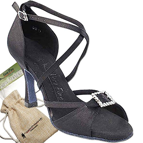 (Women's Ballroom Tango Wedding Party Salsa Dance Shoes Black Satin Sera 1110 Comfortable - Very Fine 2.5