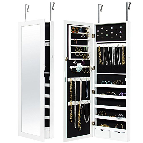 Mejor Elección Productos pared montado en la puerta Locking Espejo joyería Gabinete Organizador w/keys- White