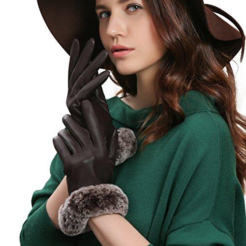 GSG Womens Touchscreen Italian Sheep Nappa Leather Gloves Lady Driving Luxury Genuine Rex Rabbit Fur Cuff (Genuine Rabbit Fur Cuffs)
