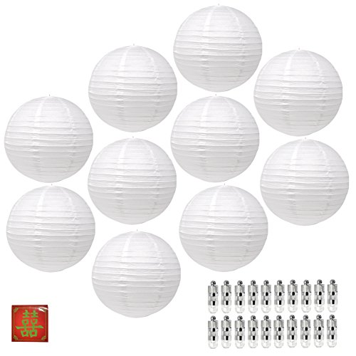 Mudra Crafts Paper Lantern with Led Light, Chinese Japanese Decorative Round Hanging Lamps (White 12 Inches 10 Packs)