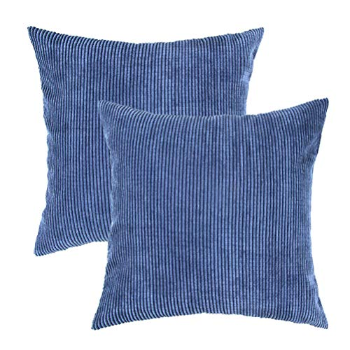 U-LOVE Pack of 2 Throw Pillow Covers Solid Supersoft Corduroy Corn Striped Cushion Cases 18 X 18 Inches for Couch Sofa Bed (Navy Blue)