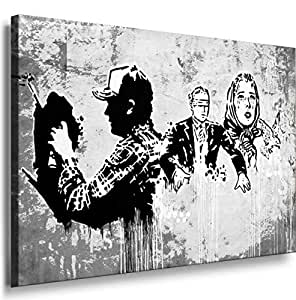 Banksy Graffiti Street Art -1054, Size 100x70x2 Cm. Printed On Canvas Stretched On A Wooden Frame.