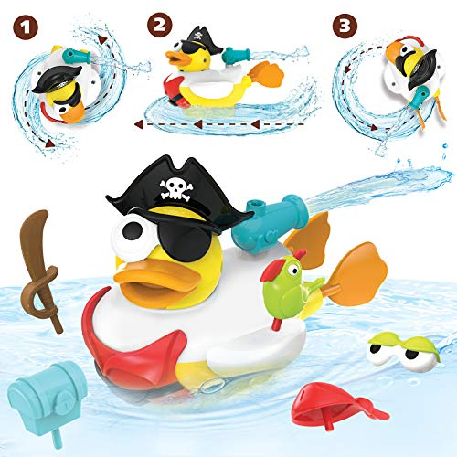 Yookidoo Jet Duck Pirate Bath Toy with Powered Water Cannon Shooter – Sensory Development & Bath Time Fun for Kids – Ages 2+