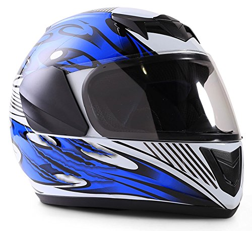 Typhoon Youth Full Face Motorcycle Helmet Kids DOT Street - Blue (Small)