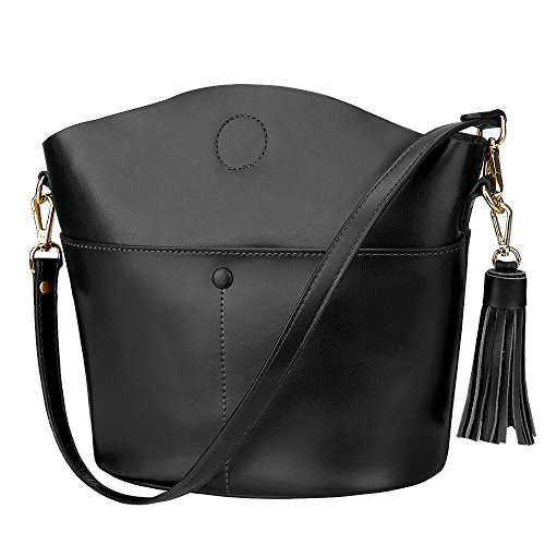 (S-ZONE Women's Cowhide Genuine Leather Small Purse Handbag Crossbody Shoulder Bag Upgraded Version (Black))