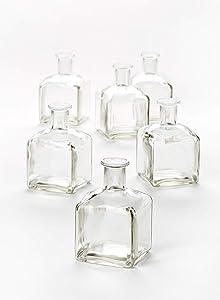"Serene Spaces Living Glass Bottle Bud Vases Set of 6, Vintage Square Bottle Style - Elegant Vases, 4.5"" Tall by 2.75"" Square"