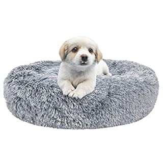 SHU UFANRO Dog Beds for Large Medium Small Dogs Round, Cat Cushion Bed, Calming Pet Beds Cozy Fur Donut Cuddler Improved Sleep, Orthopedic Relief, Washable(Multiple Sizes)