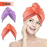 #7: Miracu 2 Pack Hair Drying Towels, Quick Dry Ultra Absorbent Microfiber Hair Towel Turban Wrap Shower Head Towel for Women, Girls and Children