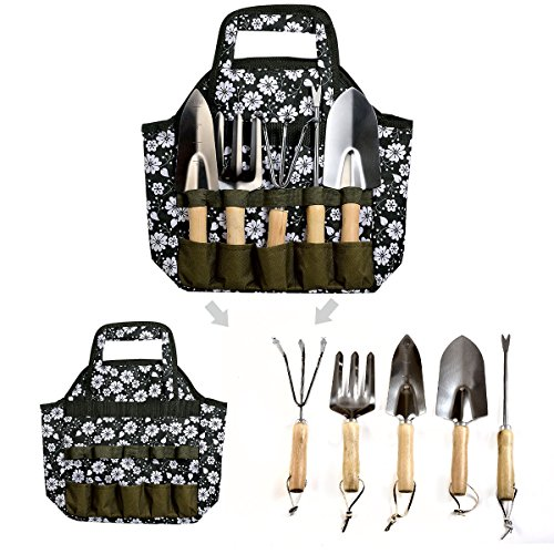 Garden Tools Set 7 Piece with Tote Bag Including Weeder, Rake, Trowel, Transplanter, Cultivator, Garden Tote Bag and Gloves Heavy Duty Cast-aluminum with Ergonomic Soft Touch Handles(Dark green)