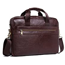 "Contacts Genuine Leather Men Briefcase Cowhide Messenger Bags 14"" Laptop Business Bag Handbag"
