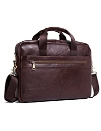 "Contacts Genuine Leather Men Briefcase Cowhide Messenger Bags 14"" Laptop Business Bag Handbag"