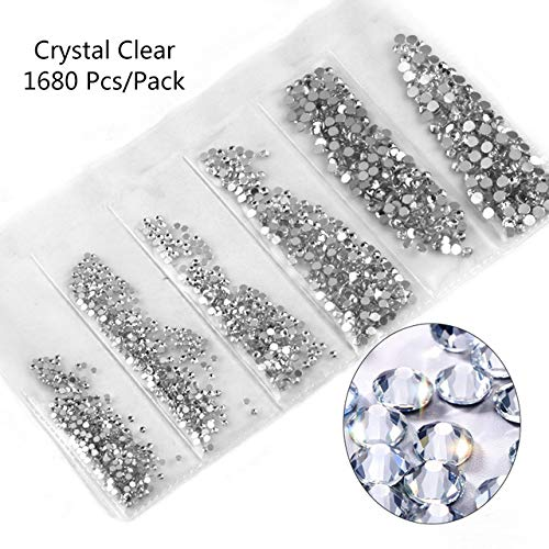 Nail Art Accessories - Multi-size Glass Nail Rhinestones For Nails Decorations Crystals Strass Charms Partition Mixed Size Rhinestone Set 3D Nail Decoration - Crystal Clear