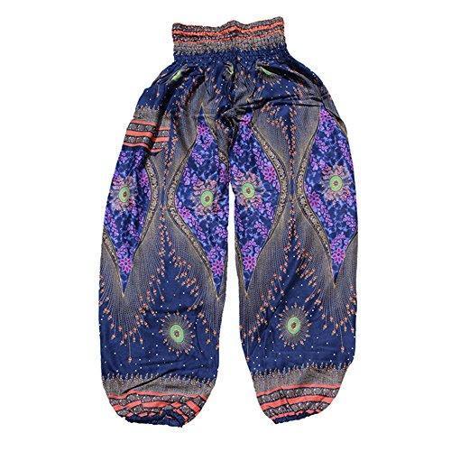 MaaMgic mujer hippie boho pantalones de yoga amplia cintura elástica impresa vacaciones Bohemia púrpura