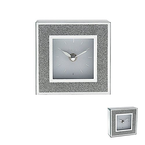 Leonardo Sparkly Silver Mirror & Glitter Frame Mantle Clock Bling Contemporary Lesser & Pavey