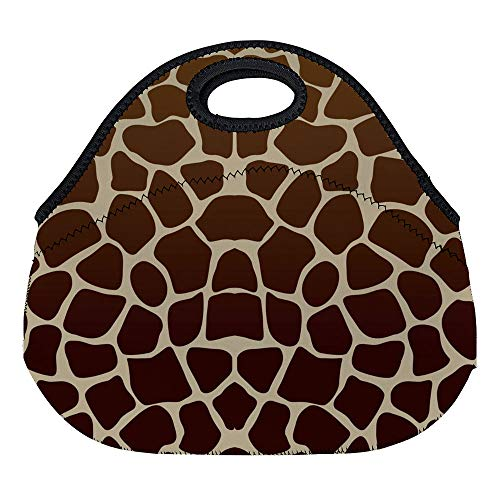 - DKISEE Giraffe Print Large & Thick Neoprene Lunch Bags Insulated Lunch Tote Bags Cooler Warm Warm Pouch with Shoulder Strap for Women Teens Girls Kids Adults