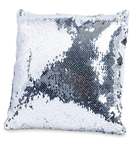 (Throw Pillows for Couch 12 x 12, Also for Bed and Sofa, Decorative Silver Sequins)