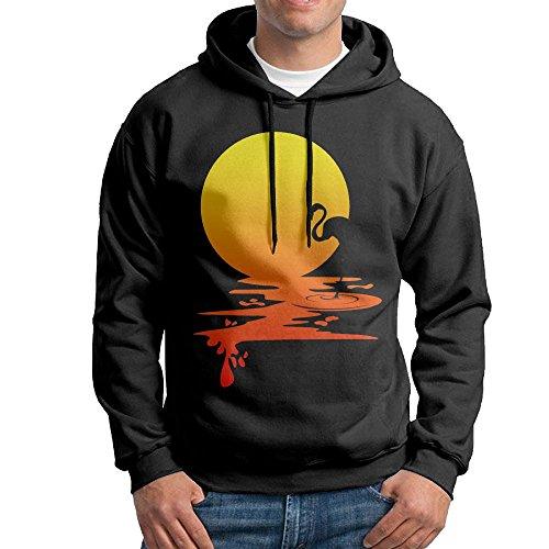 Obachi Sunset Flamingo Men's Long Sleeve Pullover Hooded Sweatshirt Black Size L