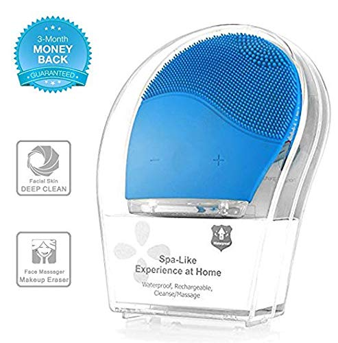 Electronic Sonic Face Cleansing Brush, Silicone Facial Cleansing and Massager Brush Cleaner, Anti-Aging, and Reducing Acne.(Blue)