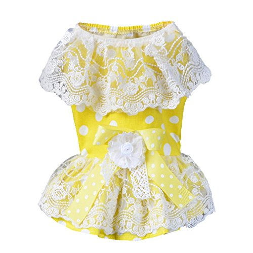 Puppy Dress, Howstar Pet Dog Cat Clothes Lace Skirt Dress Princess Costume Apparel (S)